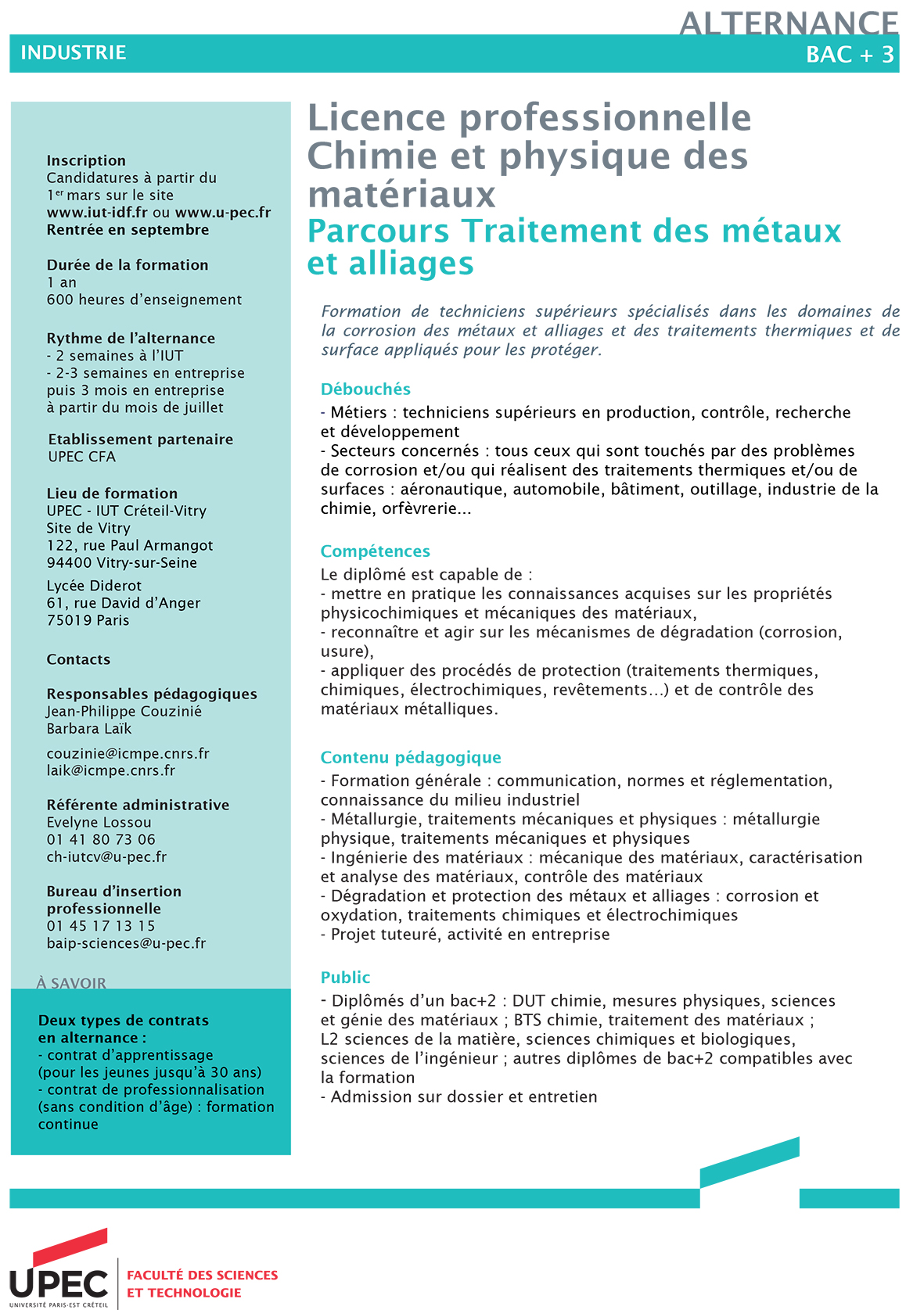 Visuel licence pro chimie